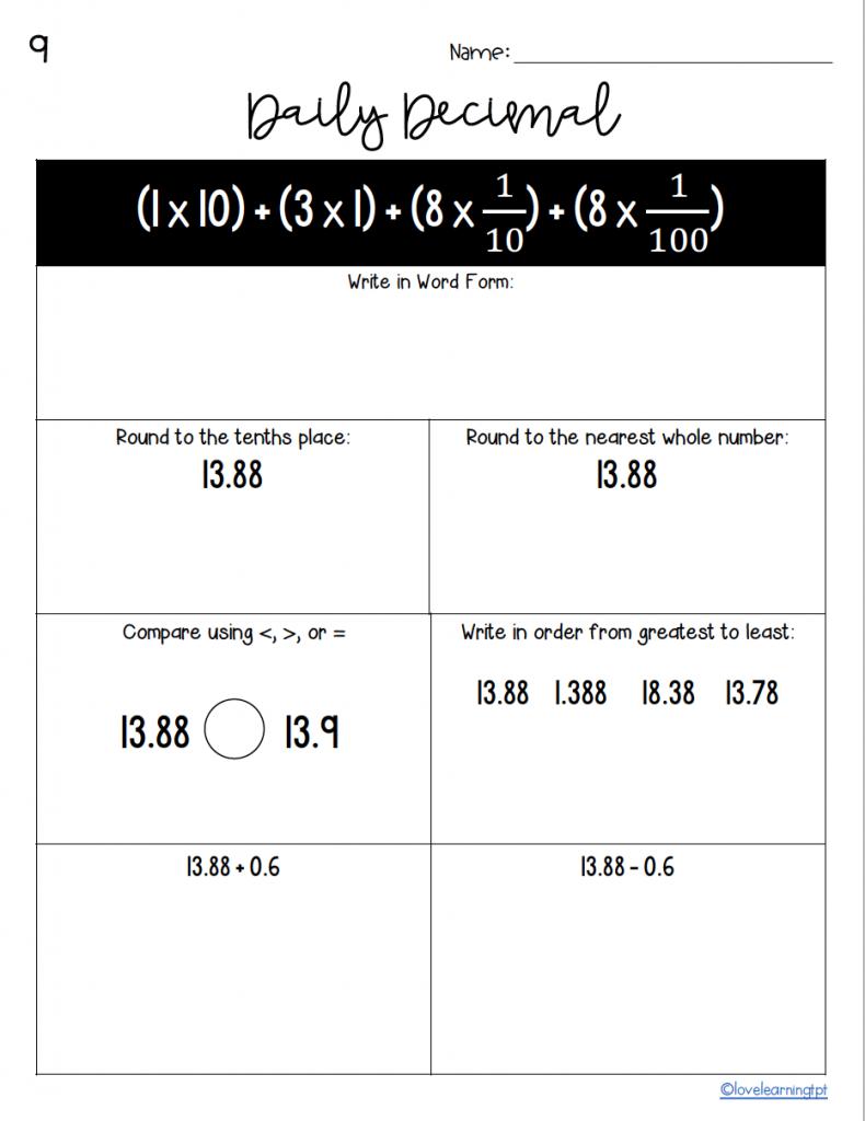 decimal place value worksheets