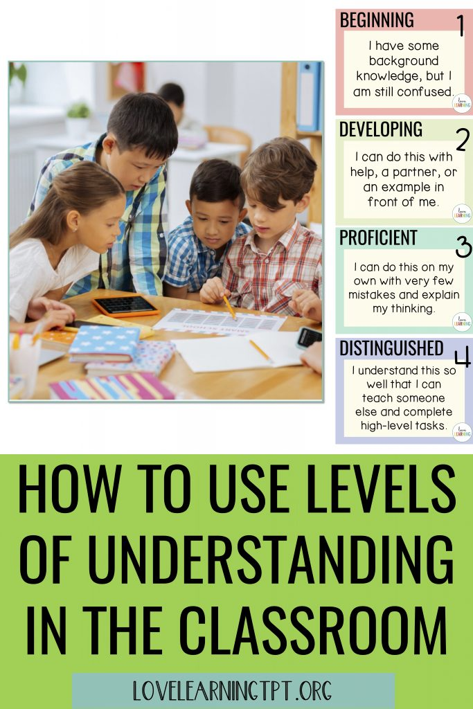 What are levels of understanding in the classroom?